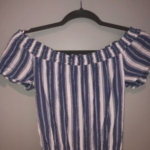 Blue and White Stripes Romper